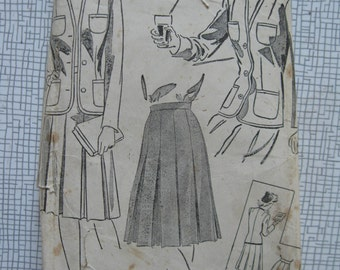 "1940s Suit Jacket & Skirt - 34"" Bust - Du Barry 5689 - Sewing Pattern - WW2 Wartime Vintage"