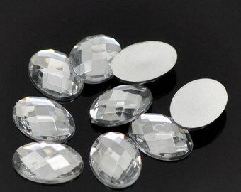 10 oval cabochons 18x13mm or 25x18mm, faceted, silver acrylic