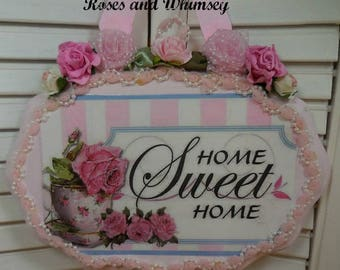 Hanging Wooden Plaque - Home Sweet Home - Pink roses and pearls Wood Picture