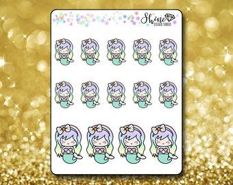 Luna Mermaid Stickers - Planner Stickers Erin Condren Life Planner Cute Emoji Siren Character Girl Stickers  Happy Planner