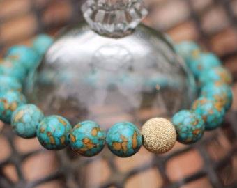 Mosaïque Turquoise Bracelet - Bracelet Turquoise en mosaïque or - Bracelet Turquoise or - poussière d'étoile or Turquoise - Bleu Bracelet extensible bleu
