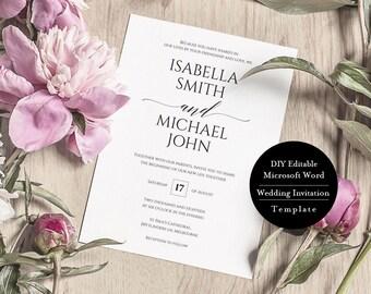 Printable wedding invitation set, Wedding invitation set template, landscape, Rustic save the date template, Wedding details card, MSW145