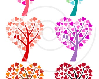 Heart wedding trees with birds, digital clip art set for wedding invitation, save the date, commercial use, PNG, EPS, SVG, instant download