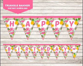 Flamingo Triangle Banner instant download, Pineapple Banner, Pink Party Pool Party Banner