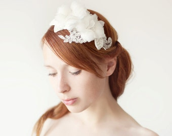 Wedding headband, Bridal Headpiece, Silk Flower headpiece, Floral Headband, Bridal Headband, Floral Headpiece, Beaded Headpiece - Wishes