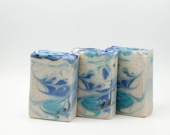 Cool Waters for Men (type) handcrafted soap, soap for men, blue and white soap