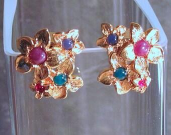 Avon Modern Bouquet Earrings - Colorful Floral Earrings - Goldtone Flowers Post Earrings - Vintage 1992