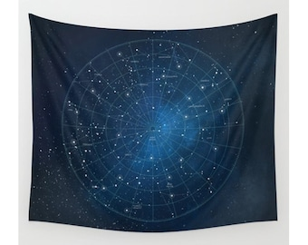 Constellation Wall Tapestry, Wall Hanging, Star Map, Astronomy, Celestial Map, Star Tapestry, Celestial Tapestry, Space Tapestry