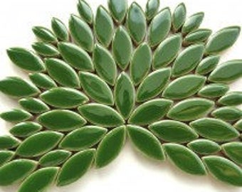 Eucalyptus Green Glazed Ceramic Petal Leaves Mix (35-40)//Mosaic Supplies//Mosaic Pieces//Crafts//Mosaic Tiles