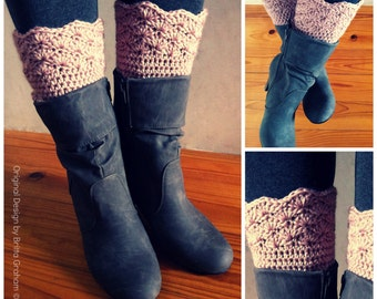 Boot Cuff Crochet Pattern - Shell Trim Boot Cuffs Pattern No.910 Digital Download PDF English