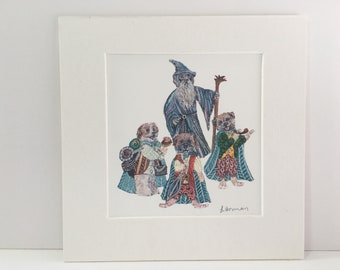 Lord of the Rings Dogs Mounted Print