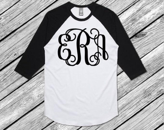 Raglan Baseball jersey initial tshirt monogram
