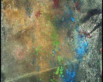 Original Painting - Abstract Painting with Brown, Green, Blue, Red by David Lawter