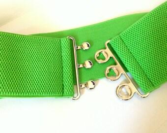 Green Wide Elastic Belt, Wide Belt, Wide Cinch Belt, Waist Cincher, Oversized, Plus size available, Custom Made A080