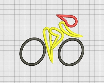 Cycling Bike Applique Embroidery Design in 4x4 and 5x7 Sizes