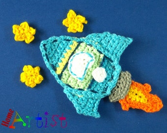 Crochet Applique rocket