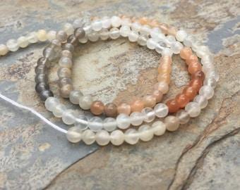 Multi Toned Moonstone Beads, Round Multi Moonstone Beads, Small Multi Moonstone Beads, 3mm, 13.5 inch strand