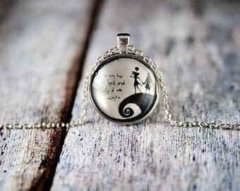 Jack and sally necklace, nightmare before christmas, disney gift, jack and sally gift,tim burton,disney pendant,sally necklace,jack necklace