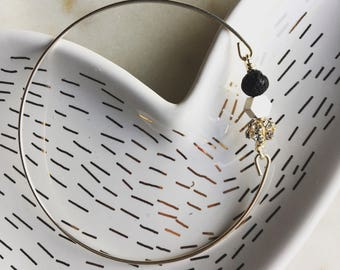 Lava rock bangle, black and silver, essential oil bracelet, delicate modern jewelry