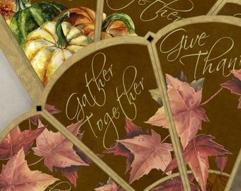Printable Thanksgiving Victorian Favor Cone Kit Cornucopia Candy Cone DIY Party Decor Instant Download Digital DIY Kit Gather Give Thanks