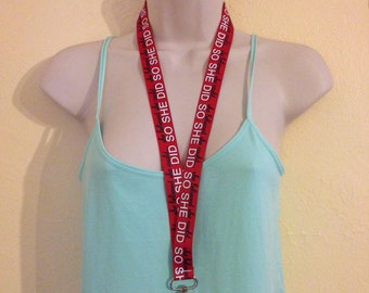 She thought she could so she did inspirational ribbon lanyard/id/badge holder