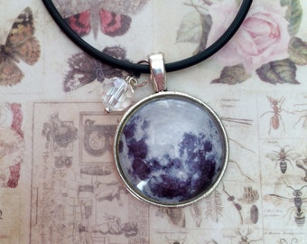 Moon & crystal necklace, Moon Necklace, Lunar necklace, Full moon necklace, Lunar Jewellery