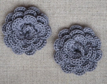 """Grey crocheted """"pink style"""" flowers"""