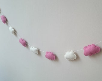 Pink and white Felt Cloud garland - 9 clouds - long nursery bunting - home decor for kids room girls Baby shower Banner party decorations