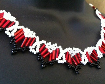 Red, White, and Black Beaded Heart Necklace