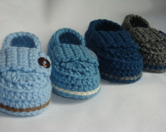 Crochet Baby Boy Button Loafers - Made to Order Booties