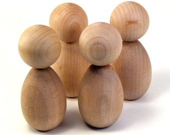 Kokeshi Dolls - Four Large Figures - Ready To Paint Wooden Dolls