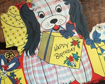 Vintage Cute Patchwork Puppy Birthday Stand Up Greeting Card - Unused - Paper Ephemera, Vintage Birthday Card, Vintage Unused Card, Dog Card