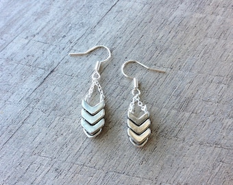 Silver Chevron Chain Dangle Earrings, Chevron Earrings, Silver Earrings, Dangle Earrings, Rustic Modern Jewelry, Free Shipping U.S.