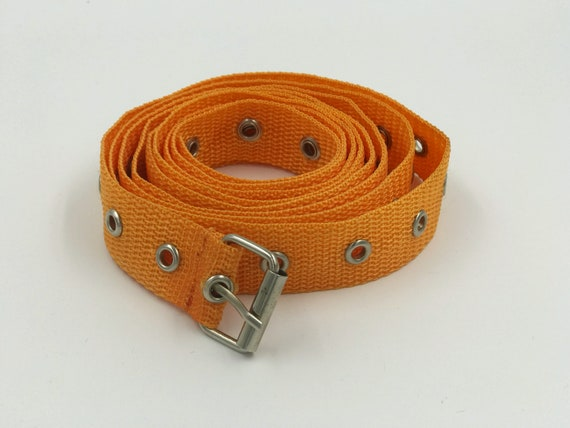 Orange Wrap Around Skinny Grommet Belt - Adjustable Extra Long One Size Fits Most - Grommet Belt Mens Womens Eyelet Belt One Size Wrap Belt