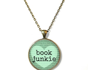 Mint book junkie Book Page Necklace, Book Jewelry, Nerdy Jewelry Gifts, Book Quote Jewelry, Book Page Jewelry, Typographic Book Necklace