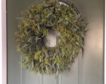 """Seeded Eucalyptus Wreath- 20"""""""