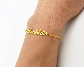 Personalized name bracelet-gold bracelet with name,sterling silver plated 18K gold,Mother's day gift