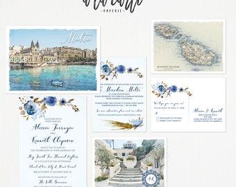 Malta Destination wedding invitation Mediterranean invitation set Balluta Bay Valletta - Europeen island wedding Deposit Payment