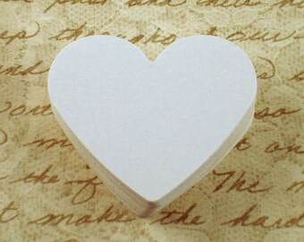 50 Paper Die Cut Hearts   2  inch  in  Snowy White