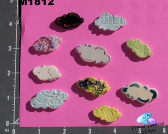 Assorted Clouds - Kiln Fired Handmade Ceramic Mosaic Tiles M1812