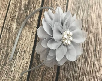 Grey headband, flower girl headband, flower girl, wedding headband, hard headband, child headband