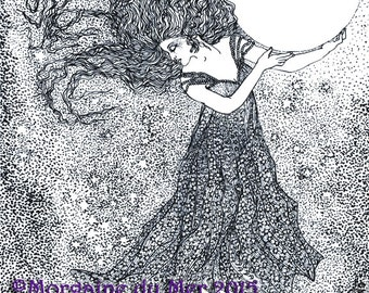 Night Sky Goddess Full Moon Stars Fantasy Art Print Hand-drawn Pen and Ink Black and White Illustration