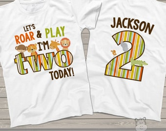 zoo / jungle theme second 2nd birthday shirt - let's roar and play i'm two today lion tiger giraffe elephant alligator shirt MBD-024