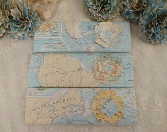Chocolate Wrapper, Travel Theme Party Favor, Map Paper ~ Set of 10 ~ Handmade