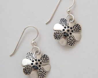 Silver Flower Earrings made from Vintage American Silver Dimes