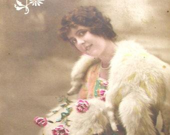1900s Xmas postcard, Lady with mistletoe, RPPC real photo postcard, paper ephemera. Vintage collectible.