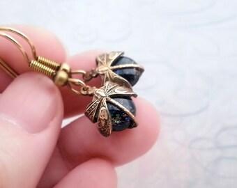 Dragonfly earrings, black opal earrings, Art Deco dangle earrings, drop earrings, dragonfly jewelry, glass earrings
