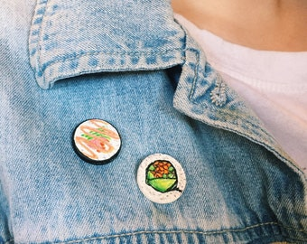 2pc Sushi Rolls handpainted pin set
