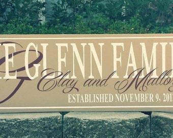 Family Established wood sign, Anniversary Gift, Housewarming Gift, Wedding Gift 10x36