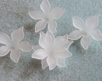Frosted White Acrylic Lucite Flower Cap Beads  28mm 417